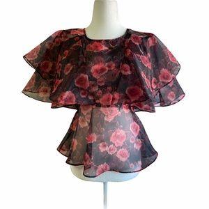 TopShop Floral Ruffle Sheer Organza Blouse Medium